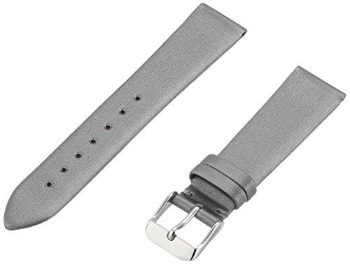 Hadley-Roma Women's LSL978RW 180 18-mm Silver Satin Grained Leather Watch Strap