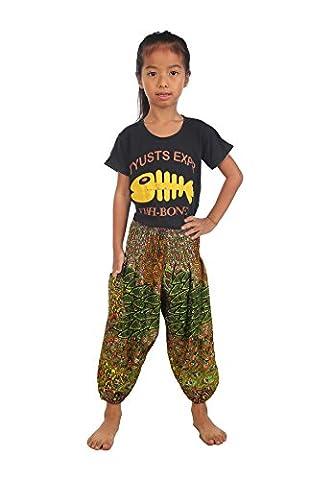 Lofbaz Kids Hippie Harem Child Retro Colourful Peacock Boho Pants Light Green 4T