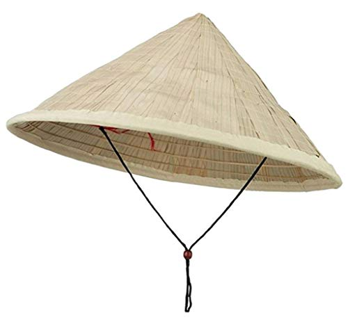 Coolie Hat Asian Japanese Large Straw Bamboo Sun Rice Farmer Costume Accessory ()