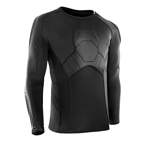 Padded Compression Shirts, Chest Protector Heart Guard Sternum Protection for Soccer Paintball Football Basketball Cycling Hockey, Long Sleeve Sports Training Undershirt for Men Youth Adult - Long Football Sleeve Adult