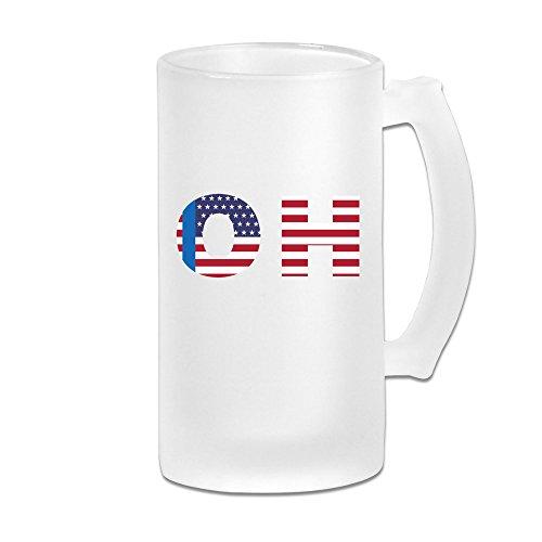 Oh State Of Ohio Flag 16OZ Frosted Glass Beer Mug Novelty Glass Beer Mug White