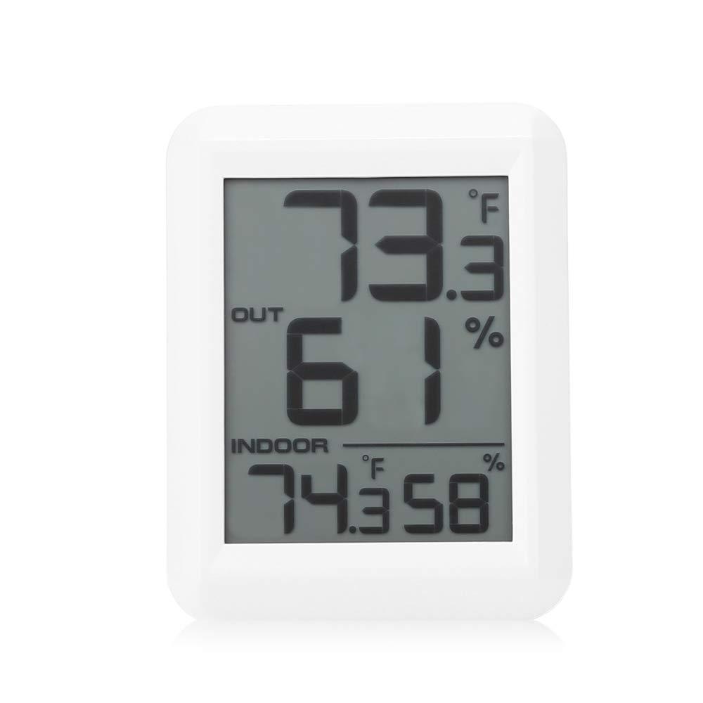 Zhuhaimei,TS - FT0423 Higrómetro Digital inalámbrico Medidor de Temperatura/Humedad Medidor con Sensor Exterior(Color:Blanco): Amazon.es: Hogar