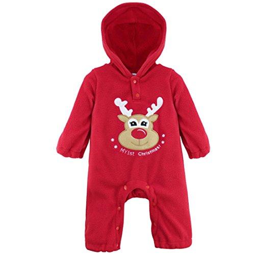 iEFiEL Unisex Babys Reindeer Santa Christmas Jumpsuit with Hood Reindeer 9-12 Months (Santa Outfit For Baby Boy)