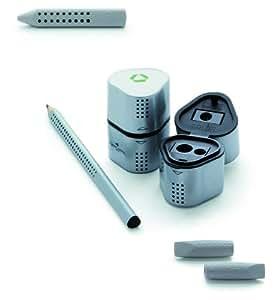 Faber-Castell Grip 2001 - Set de escritura (con 12 lápices HB 117000 Grip 2001, 1 sacapuntas triple 183800 Grip 2001 y una tapa borrador 2 en 1 187000 2001)