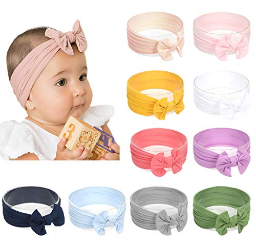DANMY Baby Girl Nylon Headbands Newborn Infant Toddler Hairbands and Bows Child Hair Accessories (Nylon Bow (10cps))