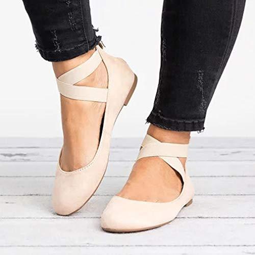 Desnudo Mujer Cruzada Moda Plataforma Colores Sandalias Zapatos 6 con Zapatos Sandalias Zapatos 43 Beige Verano Cremallera Plano 35 Cerrado Gamuza Correa PFPxAqw4r