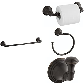 KOHLER Devonshire 4-Piece Bath Accessory Set with 18 in. Towel Bar ...