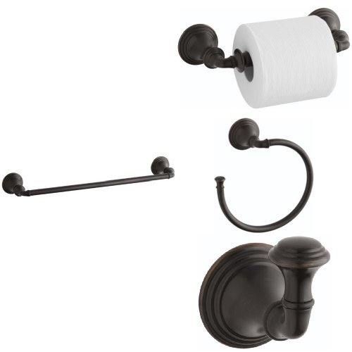 Two Devonshire Toilets Piece (KOHLER Devonshire 4-Piece Bath Accessory Set with 18 in. Towel Bar - Oil-Rubbed Bronze)