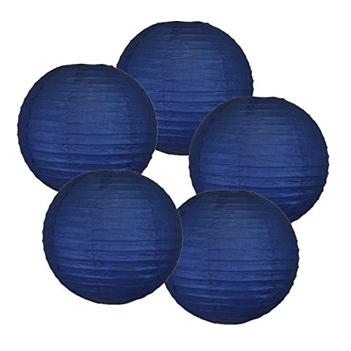 Just Artifacts 8-Inch Chinese/Japanese Hanging Paper Lanterns, Set of 5, Navy Blue