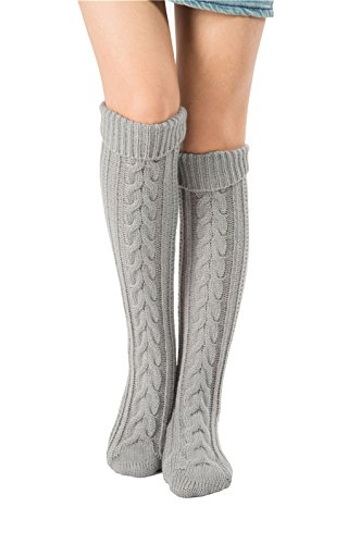 Leoparts Women's Solid Winter Over Knee Knitted Crochet Leg Warmer Long Socks (Crochet Socks)