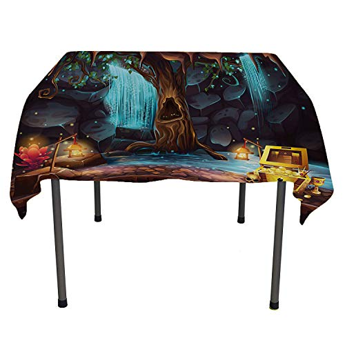 Fantasy, Wrinkle Free Anti-Fading Tablecloths Cartoon Style Cave Landscape with a Big Tree Treasure Chest Lamps and Waterfall, for Kitchen Dinning Tabletop Decor, 50x50 Inch Multicolor