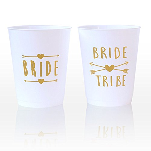 (12 Pack ) Bride and Bride Tribe Cups - for Bachelorette, Bridal, & Hen Parties Premium Quality By Equiparty