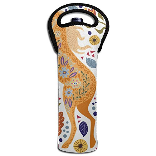 Sanghing Art Colorful Beautiful Abstract Folk Horse and Flower Single Red Wine Cover,Travel Wine Bag,Champagne,Beer, Beverage Bottle, Protection Bag, Party, Camping Bag