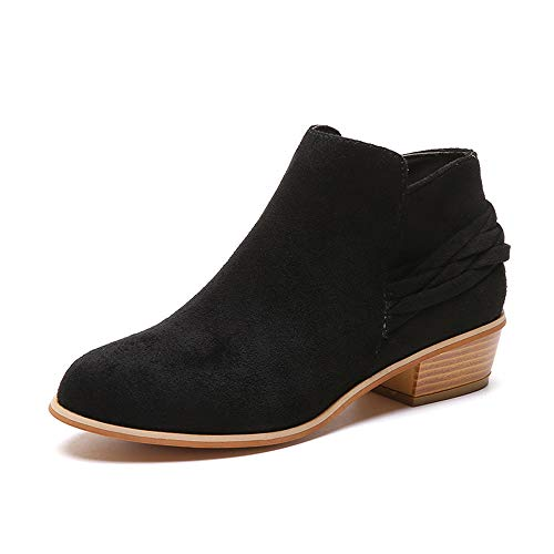 iFOMO Womens Solid Flock Bootie Side Zipper Ankle Boot with Heel Belt(Black,8 US)