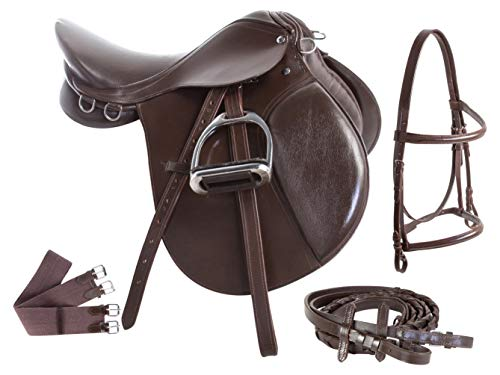 "AceRugs 15 16 17 Brown All Purpose English Leather Horse Saddle Set Bridle REINS Leather Irons Girth (17"")"
