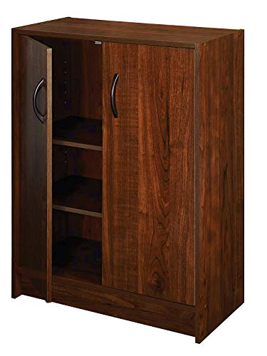 - 3 Tier Bookshelf with Doors Closed Wood Standing Vertically Minimal Bookcase Decorative Stylish Height Adjustable Storage Shelf Ideal for Living Room Office Bedroom & e-Book by jn.widetrade.