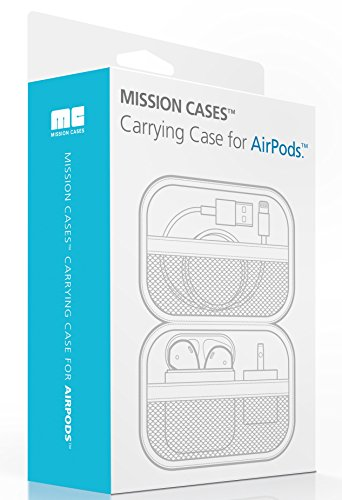 5cc68cc02c6 AirPods Case - Premium Zipper Hard Case [Holds AirPods, Lighting Cable,  Power Adapter