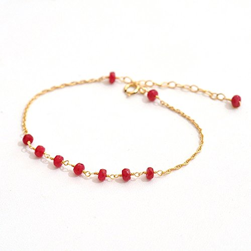 14K Gold. Ruby Bracelet, 14K Yellow Gold Ruby Beaded Bracelet, July Birthstone Jewelry, by Fifi LaBonge