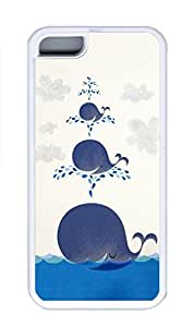 iPhone 5C Case, Personalized Custom Rubber TPU White Case for iphone 5C - Smiling Whales Cover