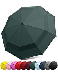 EEZ-Y Paraguas de Viaje Compacto con construcción de Doble toldo Resistente al Viento, botón de Apertura y Cierre automáticos