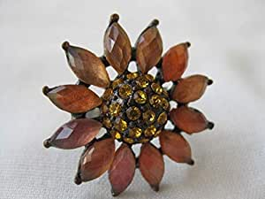 Apricot Daisy Adjustable Ring