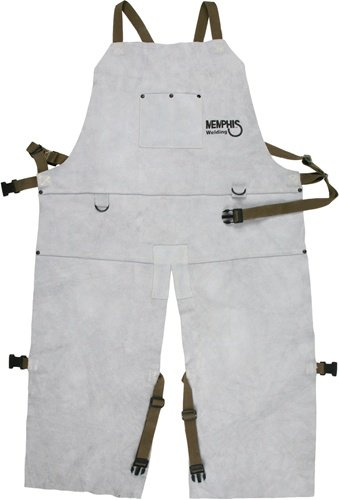 MCR Safety 38236MW 24 by 36-Inch Memphis Split Cow Leather Welding Bib Apron with Split Leg and Front Pocket, Gray Welding Bib Apron