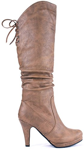 JJF Shoes Win40 Conac Sexy Slouch Lace-Up Platform Stiletto Knee High Boots-8