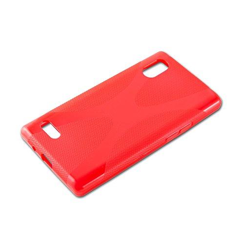 Cadorabo - LG L9 (P760) Cubierta protectora de silicona TPU en diseño X-Line - Case Cover Funda Carcasa Protección en ROJO-INFIERNO ROJO-INFIERNO
