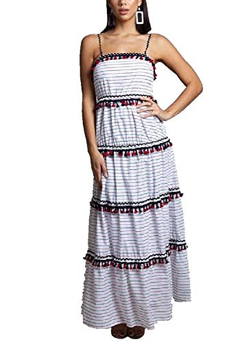 - L'atiste Women's Tiered Red White Blue Tiered Tassel Maxi Dress (Small)