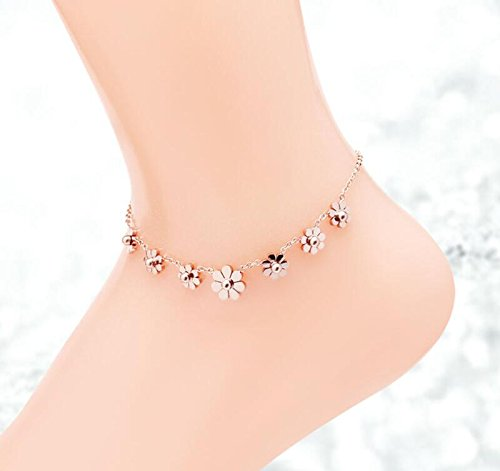 AZYOUNG 316L Stainless Steel High Polished Rose Gold 7pcs Daisies Pendant Anklet,11 inch by AZYOUNG (Image #2)