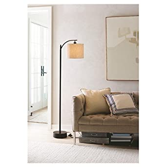 Threshold Black Downbridge Floor Lamp With Tan Shade