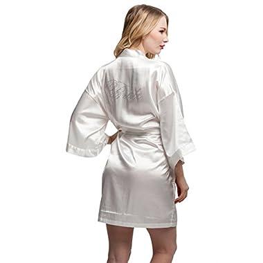ExpressBuyNow Wedding Short Kimono Robe for Bride White S