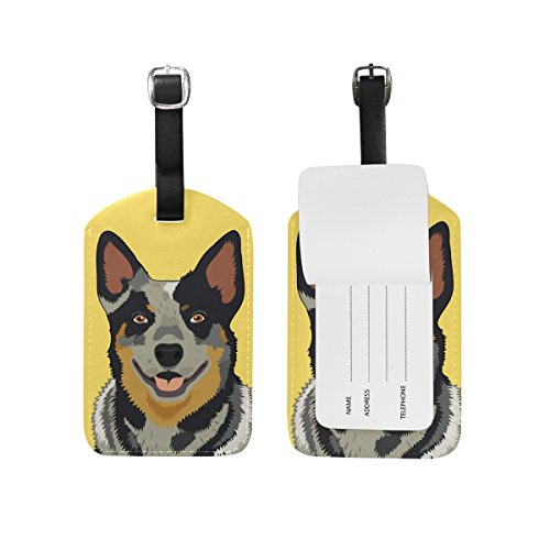 My Daily Australian Cattle Dog Luggage Tag PU Leather Bag Tag Travel Suitcases ID Identifier Baggage Label