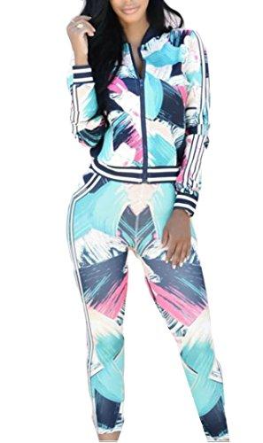 WSPLYSPJY Women Summer Floral Tracksuit Jacket and Pants 2 Piece Sports Joggers Jog Set Photo Color ()
