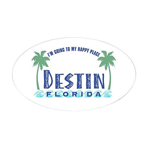 CafePress - Destin Happy Place - Oval Sticker - Oval Bumper Sticker, Euro Oval Car - Sandestin Florida