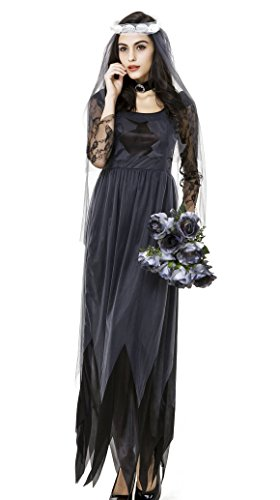 Gothic Manor Ghost Bride Costume (beautifulfashionlife Women's Deluxe Victorian Ghost Bride Costume Black L)