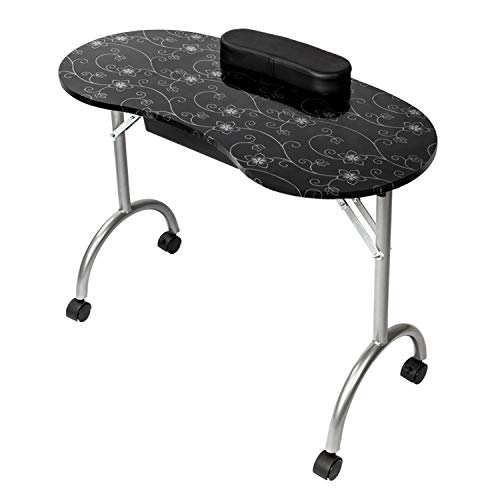 SHUTAO Portable MDF Manicure Table with Arm Rest & Drawer Salon Spa Nail Equipment Black