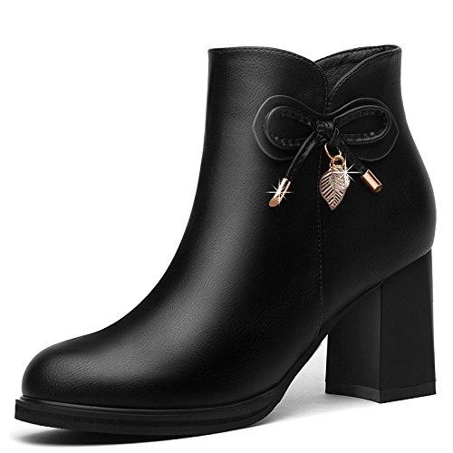 De Invierno Coreana Zapatos La Negra Versión Moda Pajarita Botas Cortas Redonda Tacones Otoño De Nuevo Botas De Lateral Mujer Mujer De Invierno La Cremallera Chica El Cabeza Zapatos 37 39 De E AJUNR De w60qx76