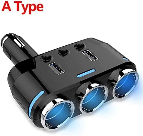 3 in 1デュアルUSB車のシガーライターソケットスプリッタープラグ3シガレットライター車のUSB電圧モニター (タイプ)