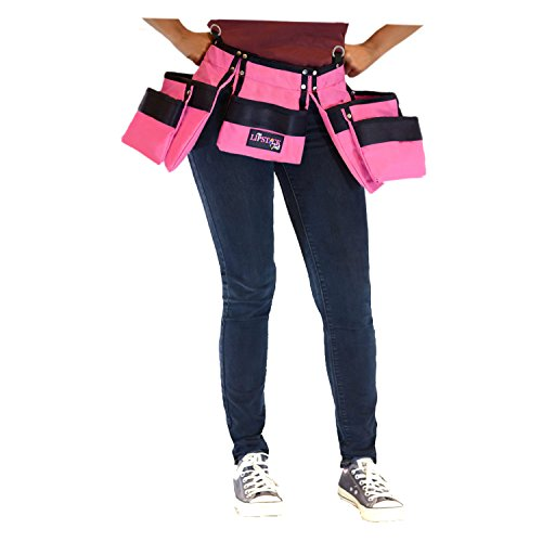 Pink Tool Belt For Women. Keep Your Gardening and Home Improvement Tools Within Hands Reach. Ladies Stylish Belt W/Pouches Carry Your Supplies W/You. Use It For Leisure Or Take It To Work (Adult) by Lipstick Tools (Image #3)