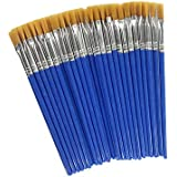Children's Art Paintbrushes,Little Painting Brushes for Kids with Flat Tip Blue (50 Pieces)