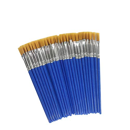 Children's Art Paintbrushes,Little Painting Brushes for Kids with Flat Tip Blue 14cm (50 Pieces) -