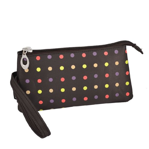 Travel-Polka-Dot-3-Compartment-Wristlet-Cosmetic-Bag-Pouch-Brown-w-Mirror