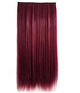 Full Head One Piece Of Hair Extensions Long Straight Wind Red Style-H006