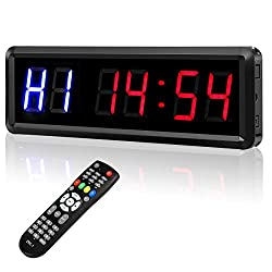 Seesii Interval Timer Count Down/Up Clock, 1.5 6 Digits LED Gym Timer Stopwatch with Remote for Home Gym Fitness Workouts