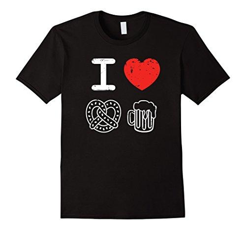 [Men's Oktoberfest I Love Pretzel and Beer Funny T Shirt Medium Black] (German Beer Girl Costume Ideas)