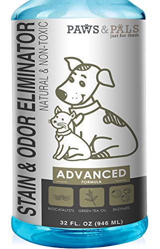Pet Stain Enzyme Cleaner and Odor Eliminator - 32oz Spray Dog Urine Remover for Carpet Rug Hard-Wood Floor Stains - Enzymatic Destroy Animal Puppy Dogs Cats Pee Spot Eraser Smell Distroyer Solution (Getting Oil Stains Out Of Wood Floors)