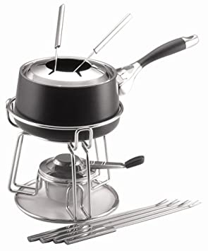 Circulon Elite 1-3 4-Quart Nonstick Hard-Anodized Fondue Pot with Rack and 6 Forks