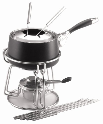 (Circulon Elite 1-3/4-Quart Nonstick Hard-Anodized Fondue Pot with Rack and 6 Forks)