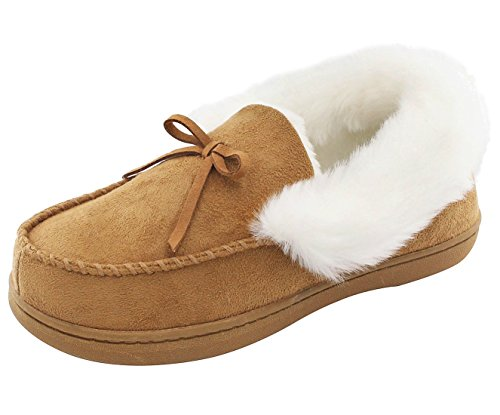 HomeIdeas by Cozy Niche Women's Faux Fur Lined Suede House Slippers, Autumn Winter Indoor / Outdoor Moccasin Shoes